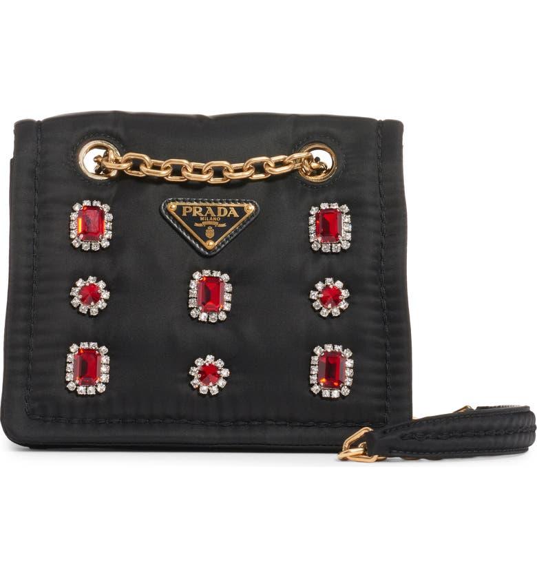 PRADA Jewel Embellished Nylon Shoulder Bag, Main, color, RUBINO/ ROSSO