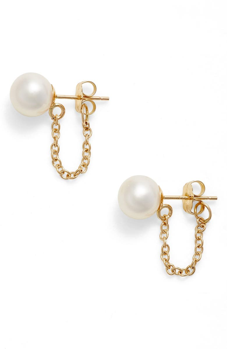 POPPY FINCH Pearl Ear Chains, Main, color, YELLOW GOLD/ WHITE PEARL