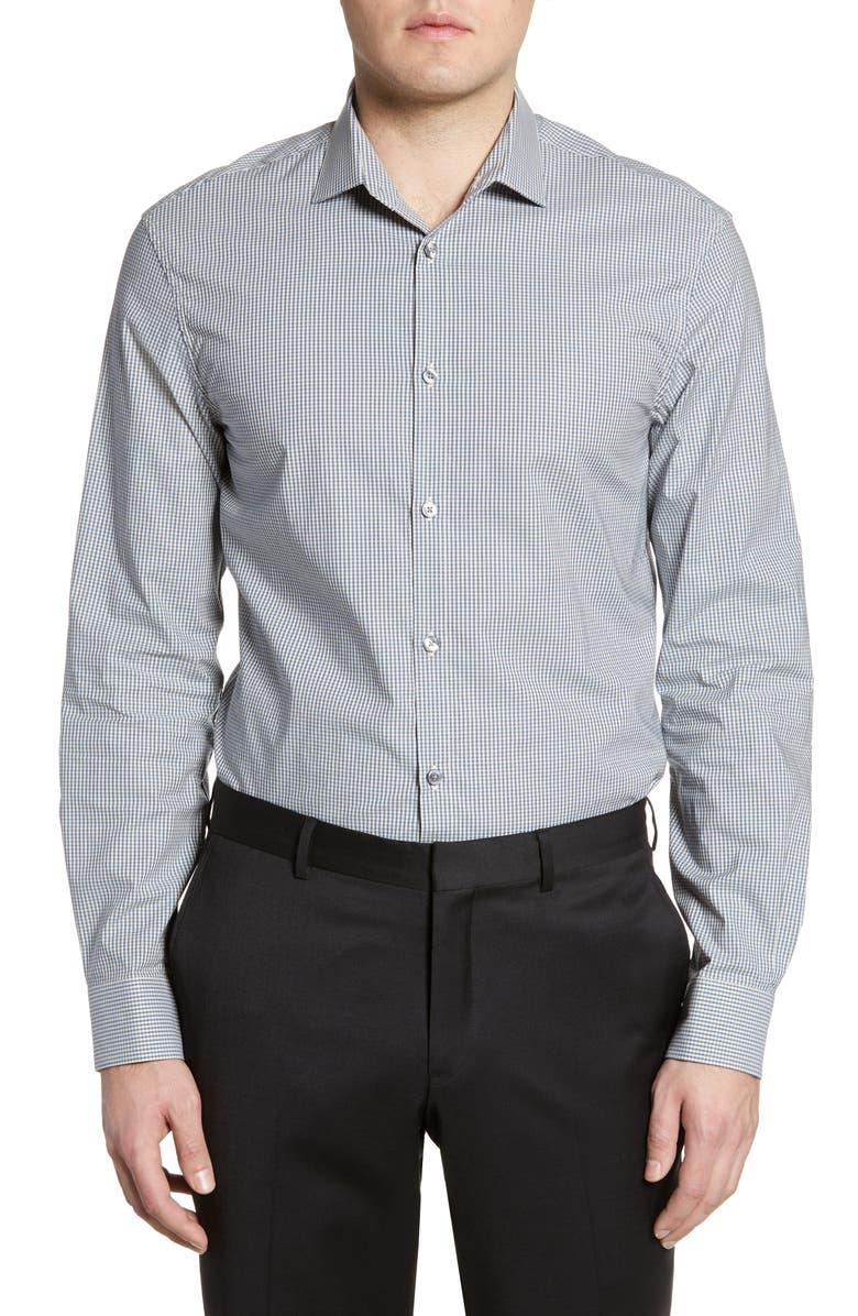 JOHN VARVATOS STAR USA Slim Fit Check Dress Shirt, Main, color, DUTCH BLUE