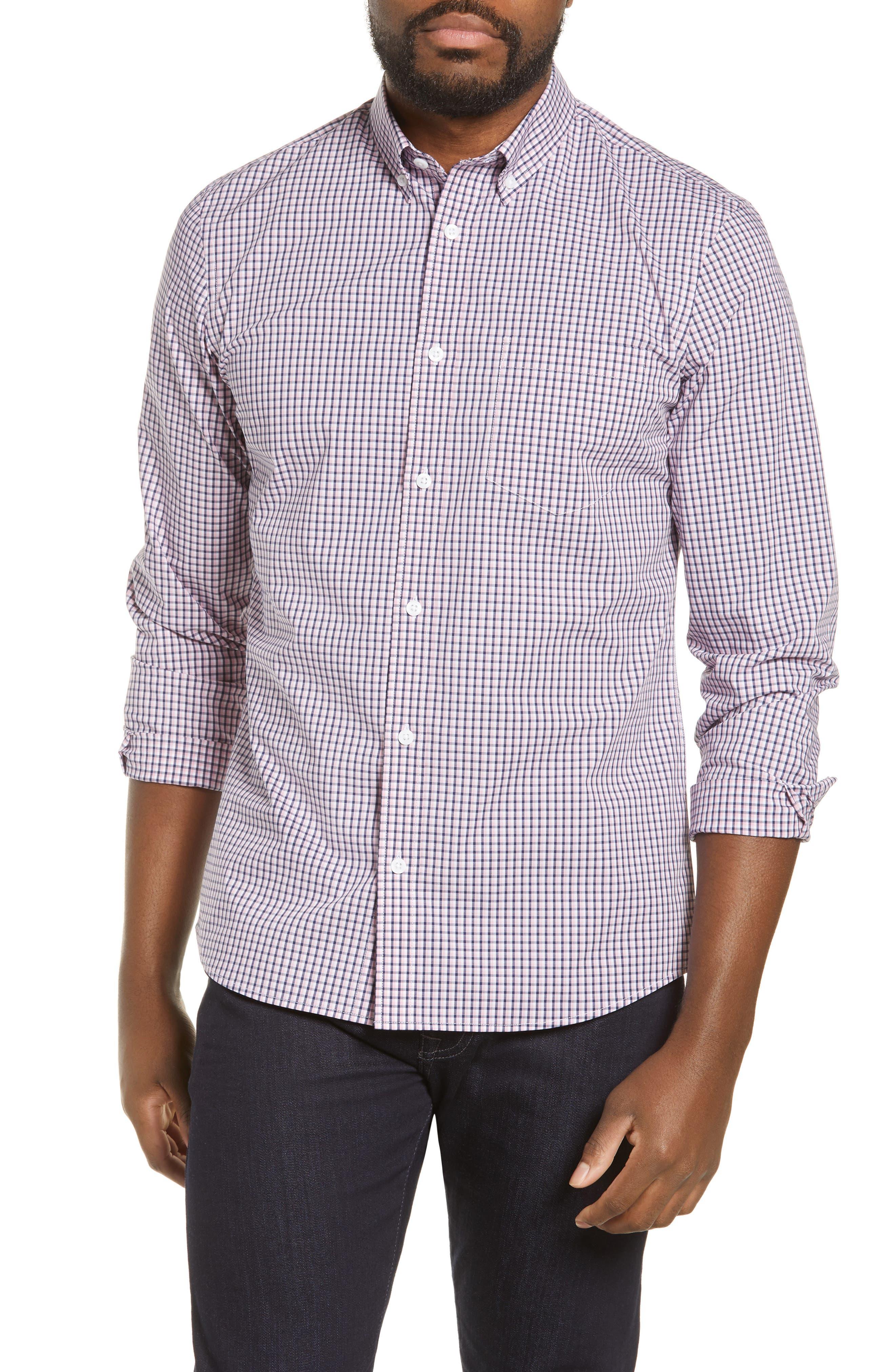 ,                             Tech-Smart Regular Fit Check Sport Shirt,                             Main thumbnail 1, color,                             NAVY MEDIEVAL PINK CHECK