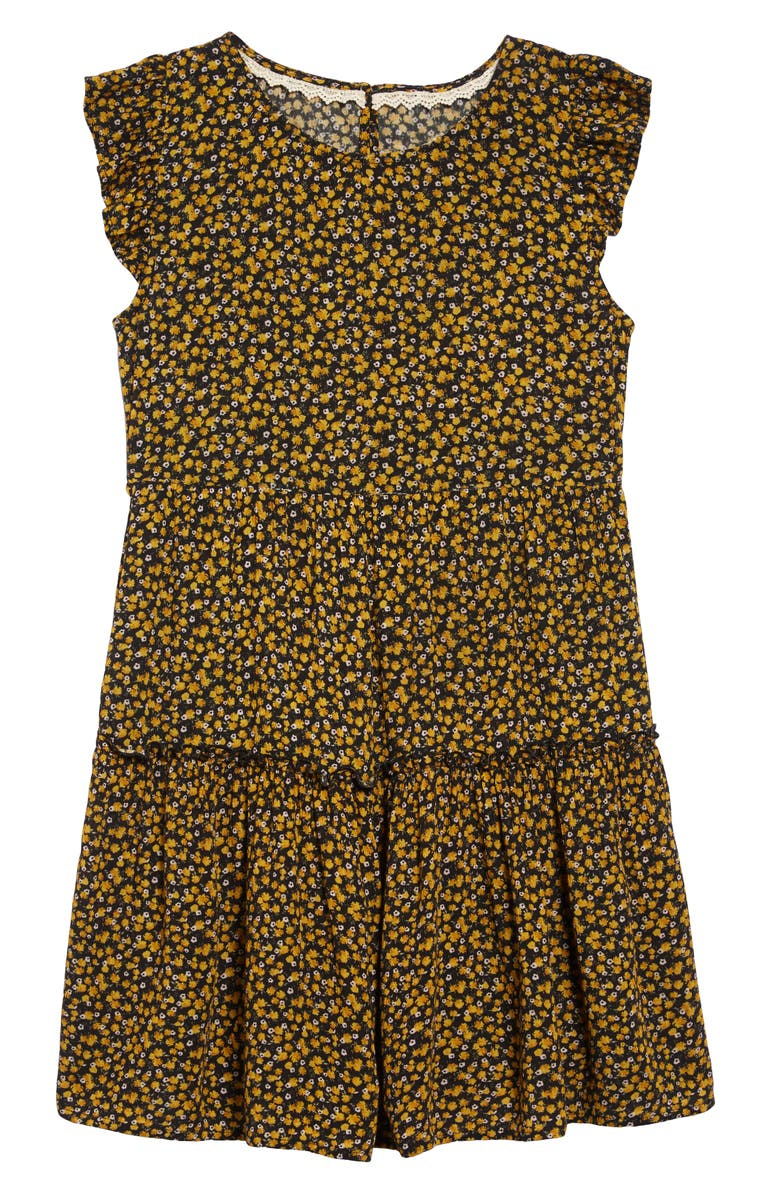 TEN SIXTY SHERMAN Floral Fit & Flare Dress, Main, color, MINERAL YELLOW