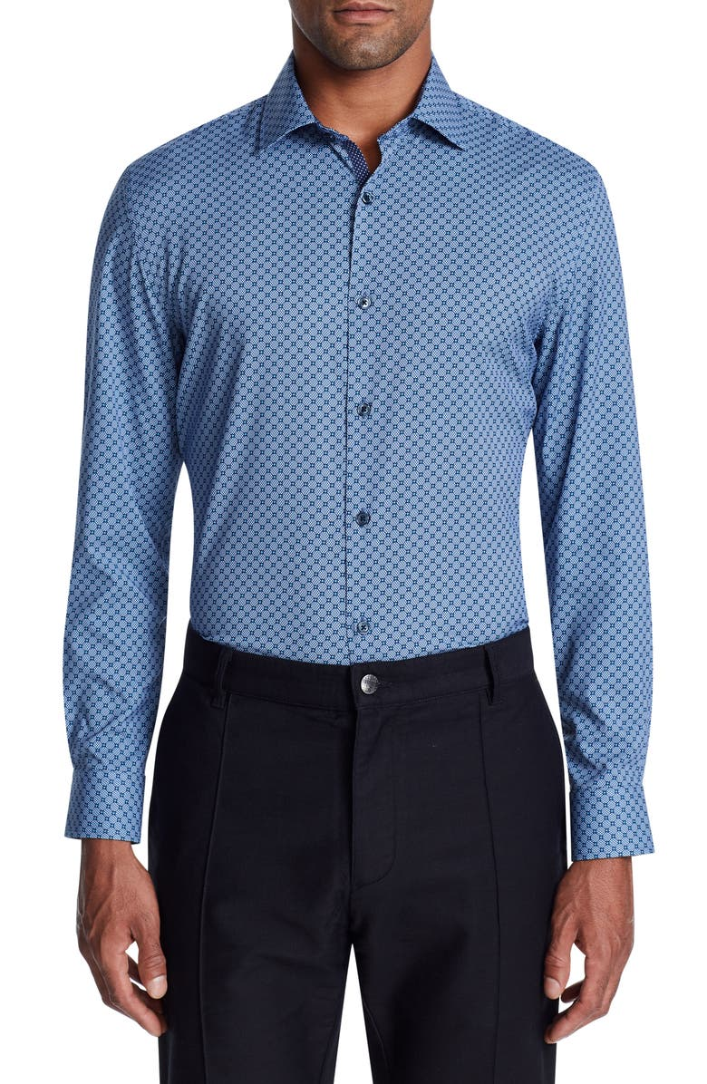 W.R.K Trim Fit Performance Geometric Dress Shirt, Main, color, NAVY