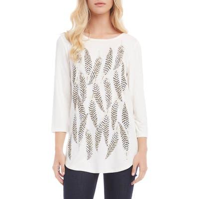 Karen Kane Feather Print Shirttail Tee, Ivory
