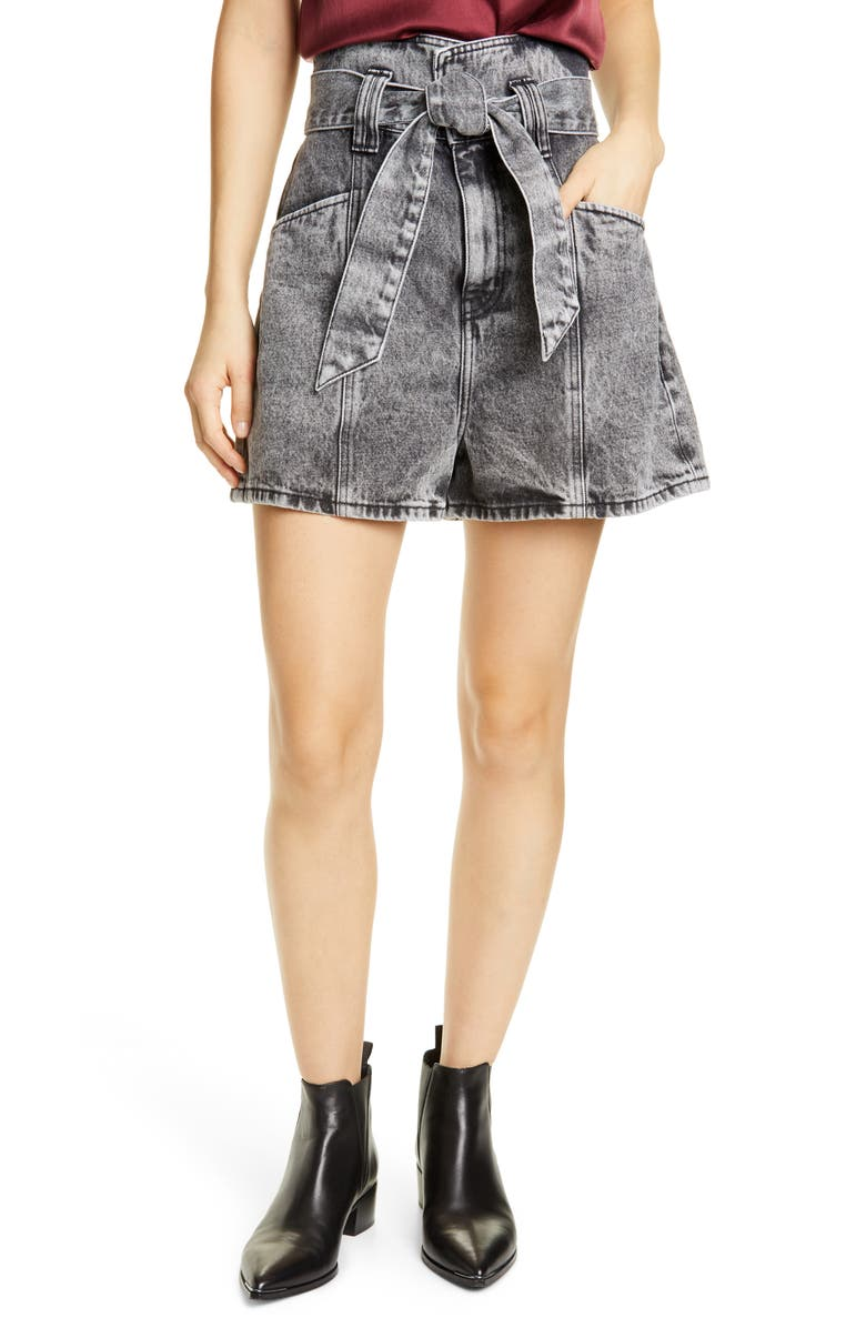 IRO Voukko Tie Waist Denim Shorts, Main, color, SNOW BLACK
