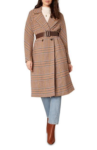 Cupcakes And Cashmere PATSY BELTED HOUNDSTOOTH COAT