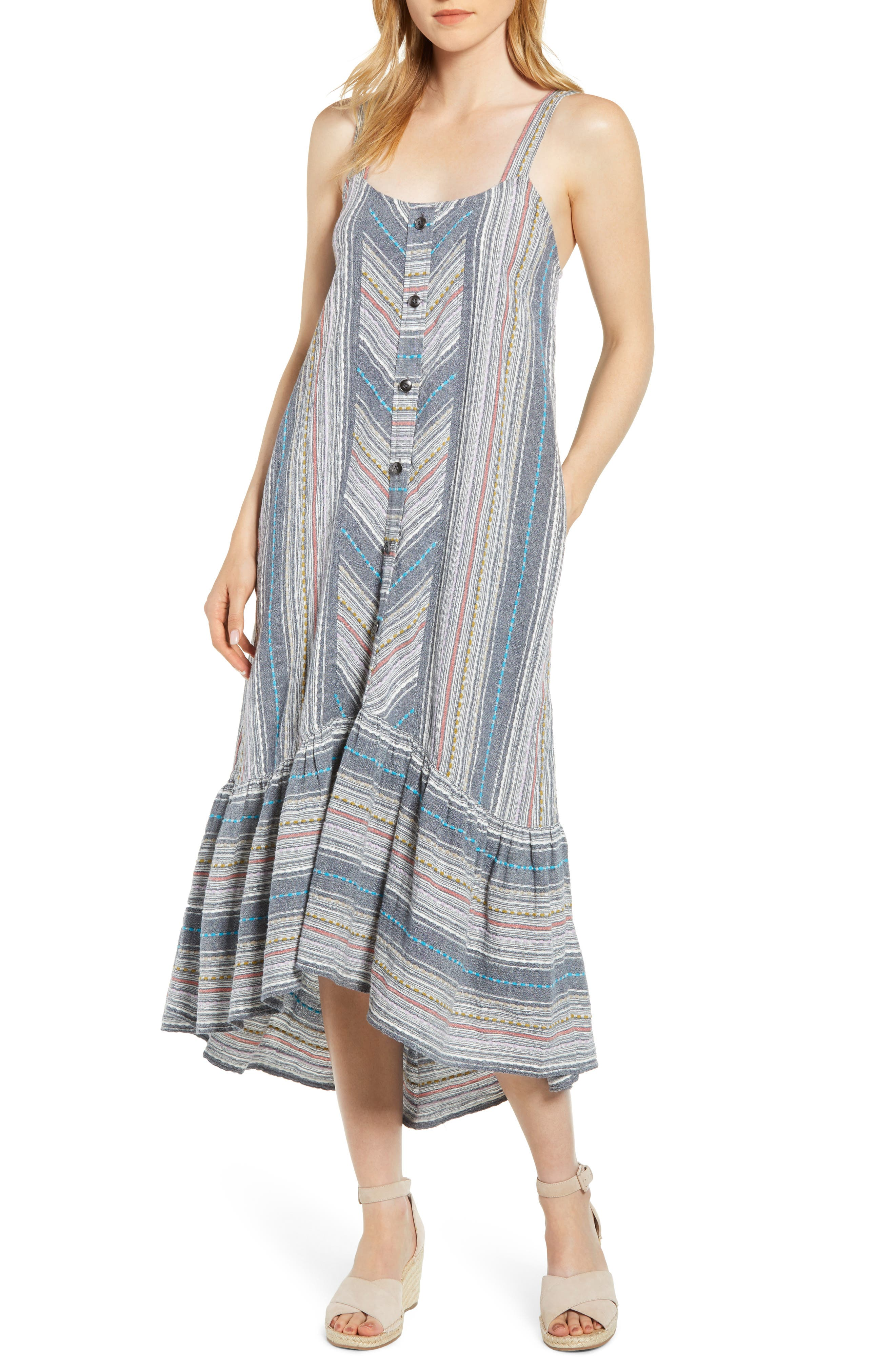 Image of Caslon Striped High/Low Cotton Maxi Dress