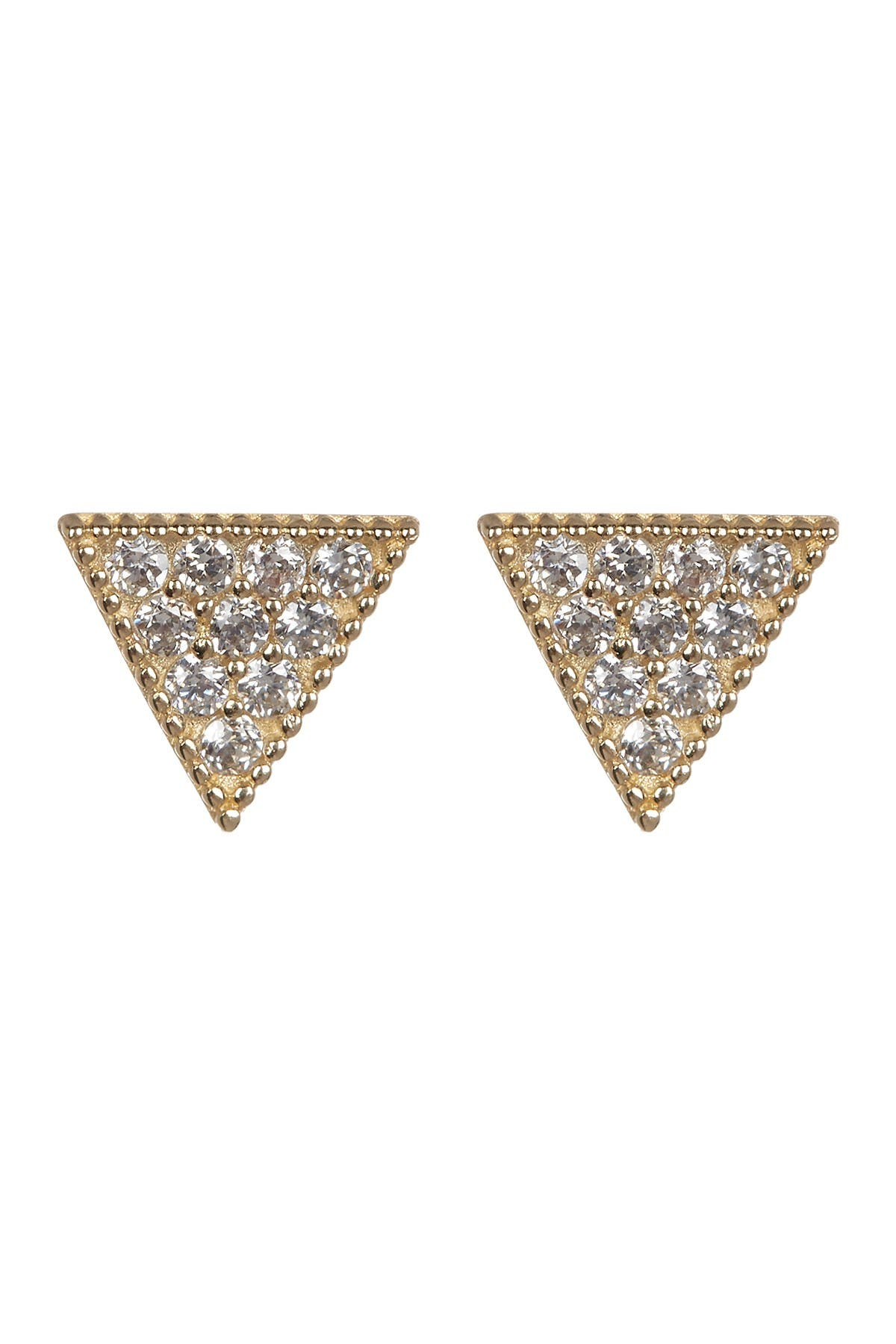 Triangle CZ Pave Earrings,Pave Cubic Zirconia Hollow Triangle Pendants With Cubic Zirconia Charm In Center,24 K Gold Filled Ear Wires,1 12