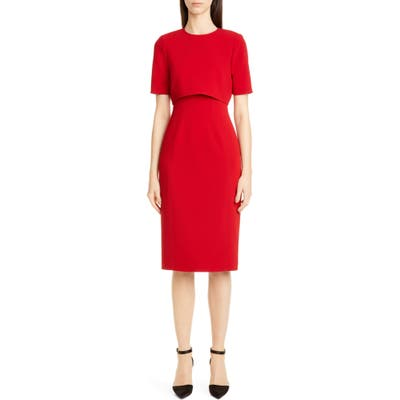 Jason Wu Collection Double Face Compact Crepe Sheath Dress, Red