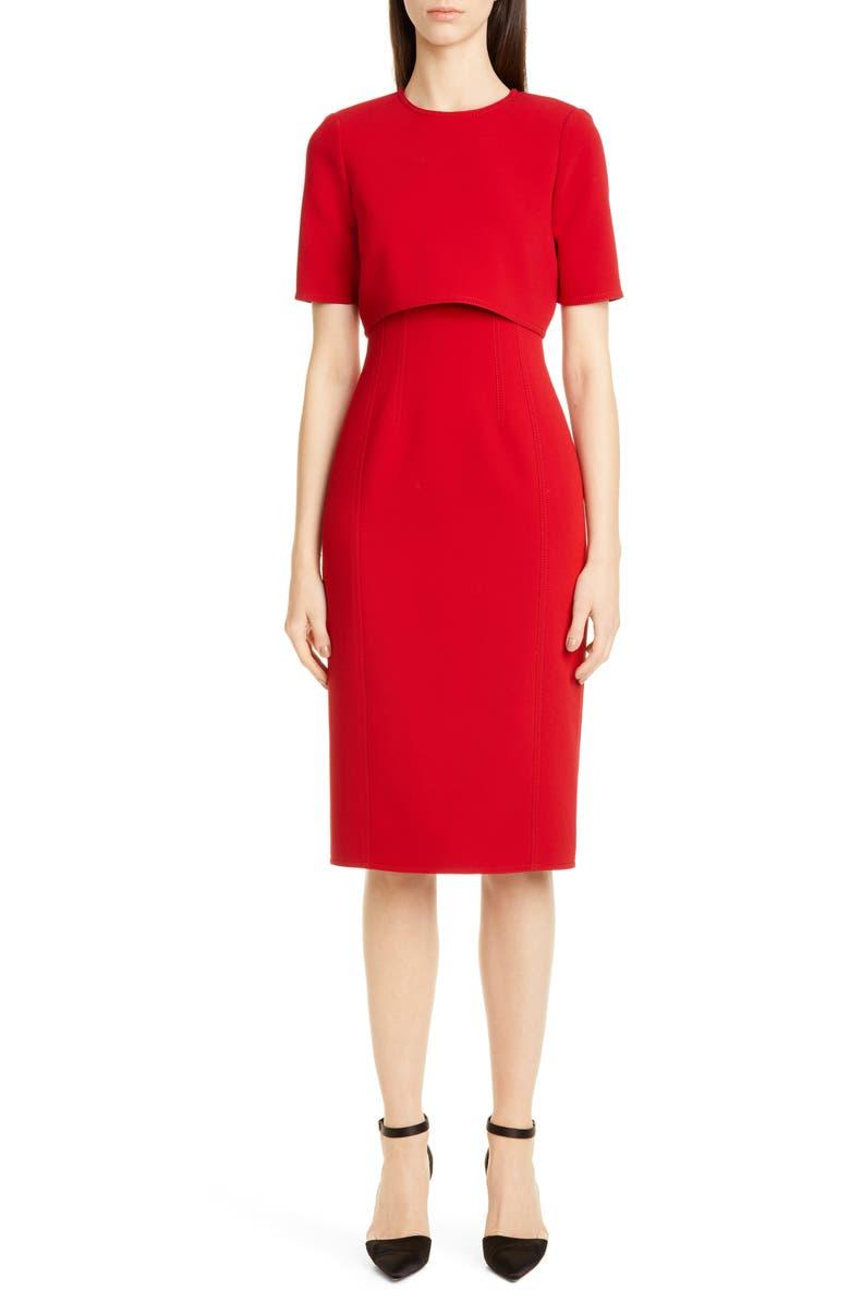 JASON WU COLLECTION Double Face Compact Crepe Sheath Dress, Main, color, GARNET/ PALE PINK