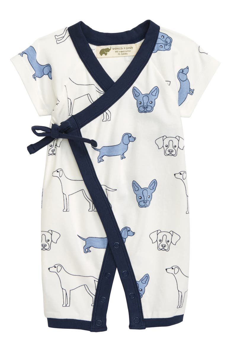 MONICA + ANDY Sweet Baby Wrap Romper, Main, color, BLUE