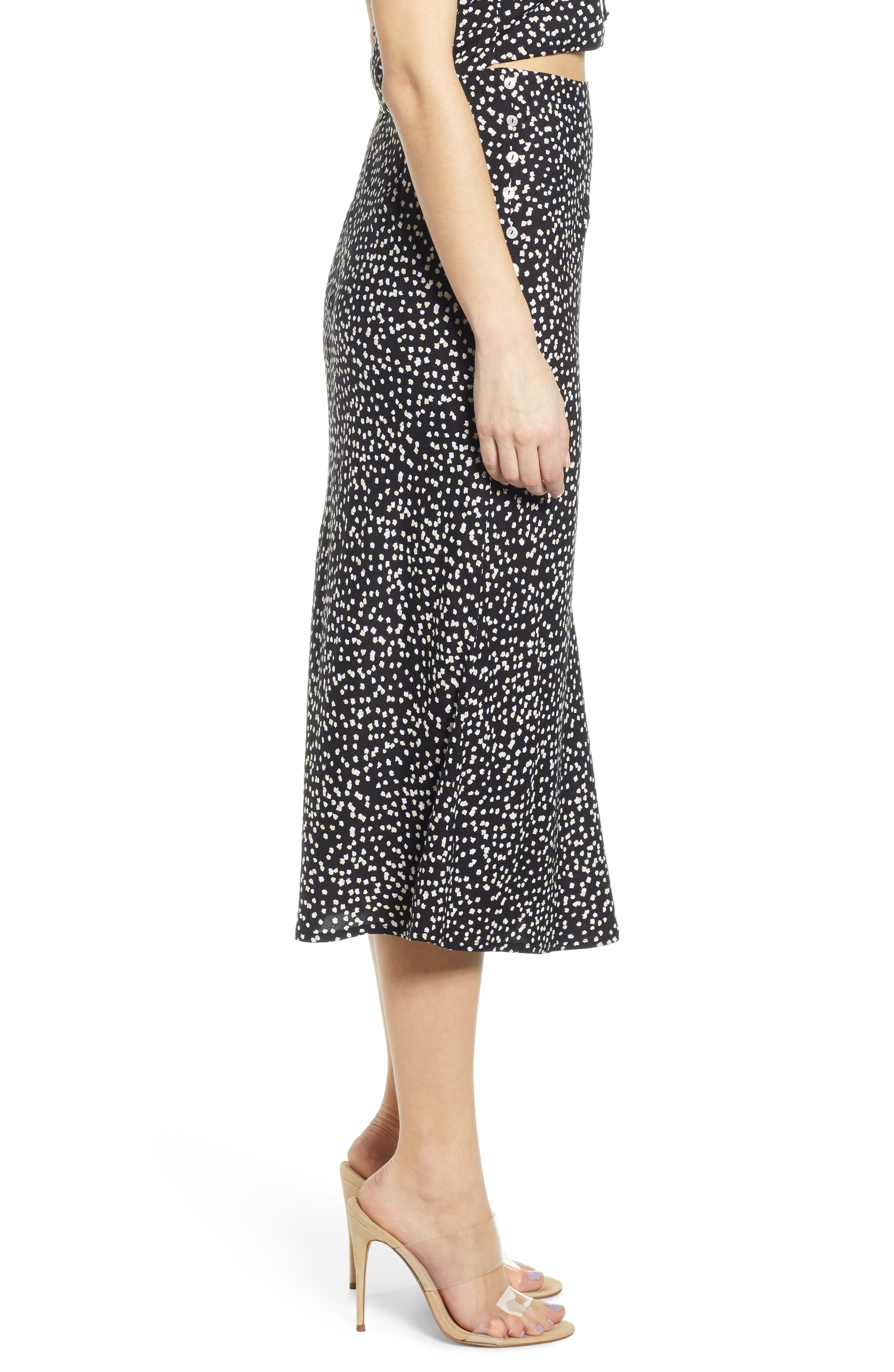 ,                             Button Side Midi Skirt,                             Alternate thumbnail 3, color,                             BLACK CINDY PRINT