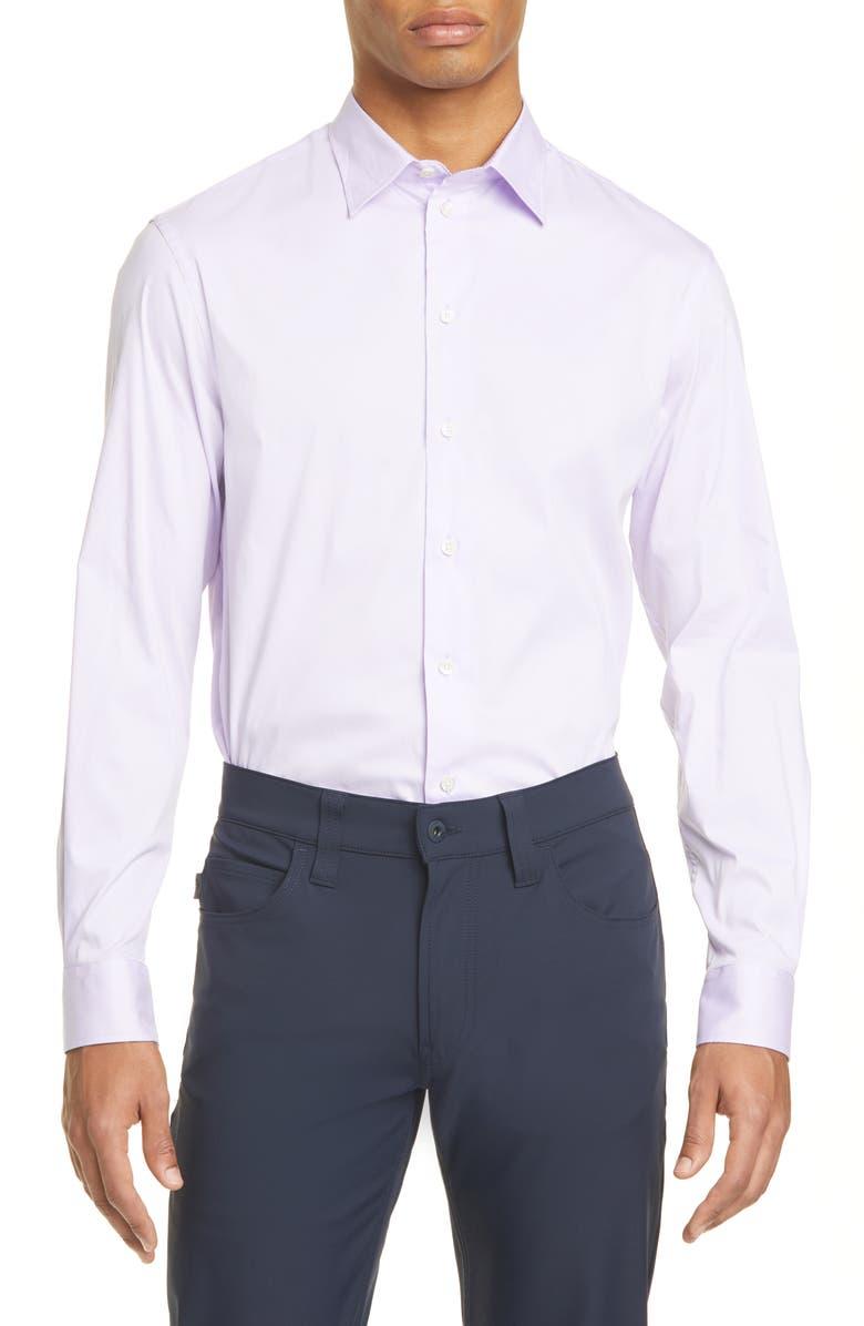 EMPORIO ARMANI Slim Fit Stretch Solid Button-Up Shirt, Main, color, LAVENDAR