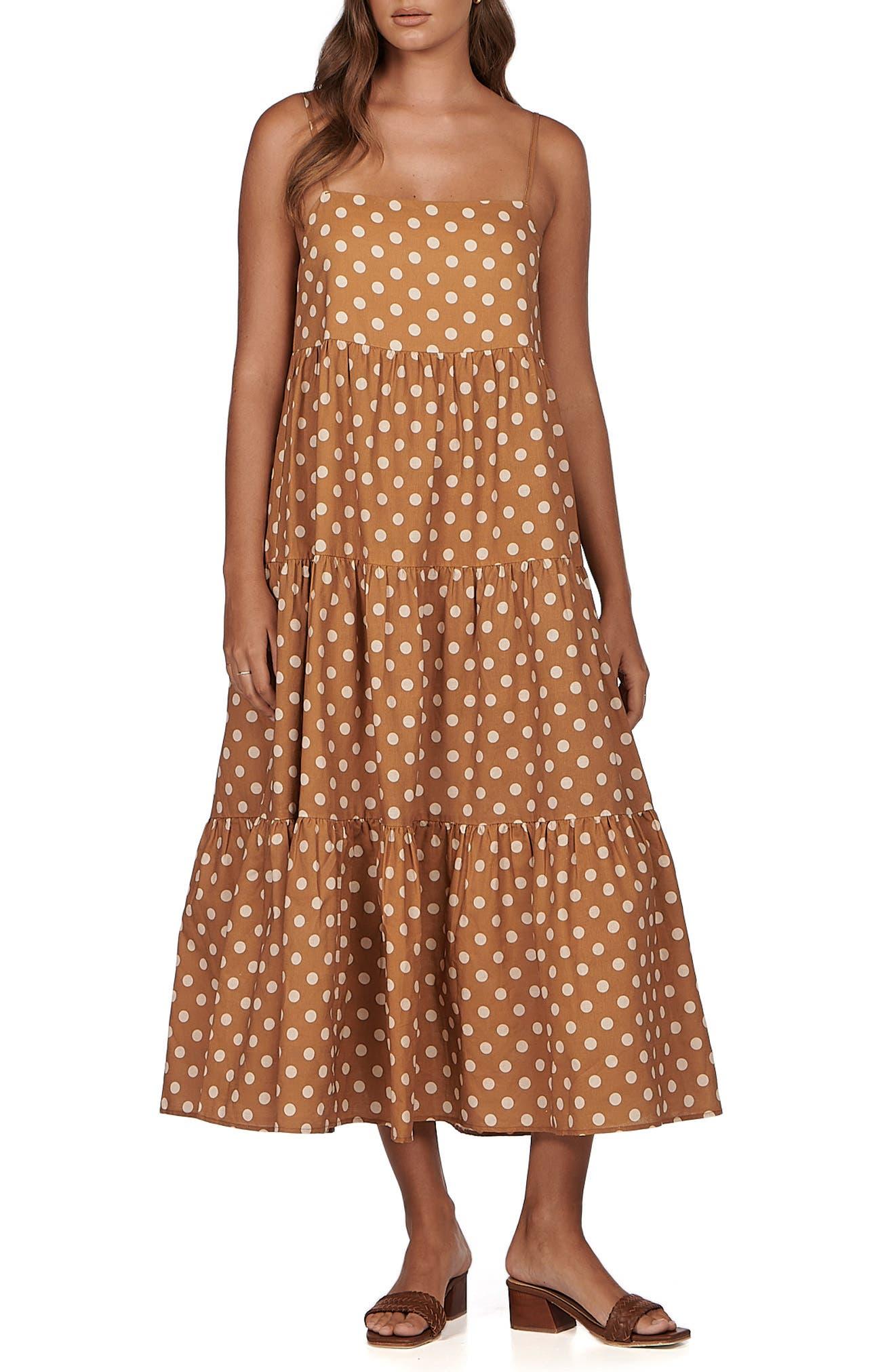 Isabella Polka Dot Cotton & Linen Maxi Dress