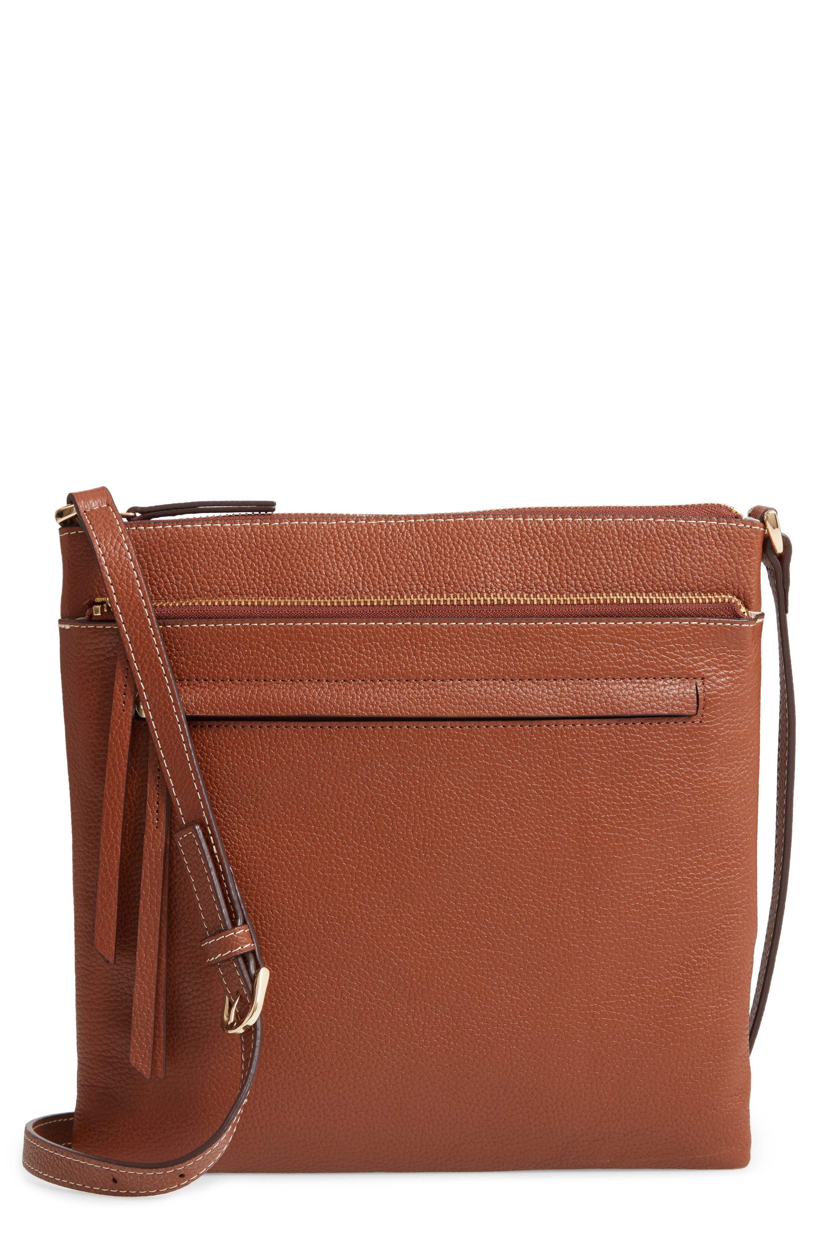 ,                             Finn Leather Crossbody Bag,                             Main thumbnail 1, color,                             BROWN AZTEC