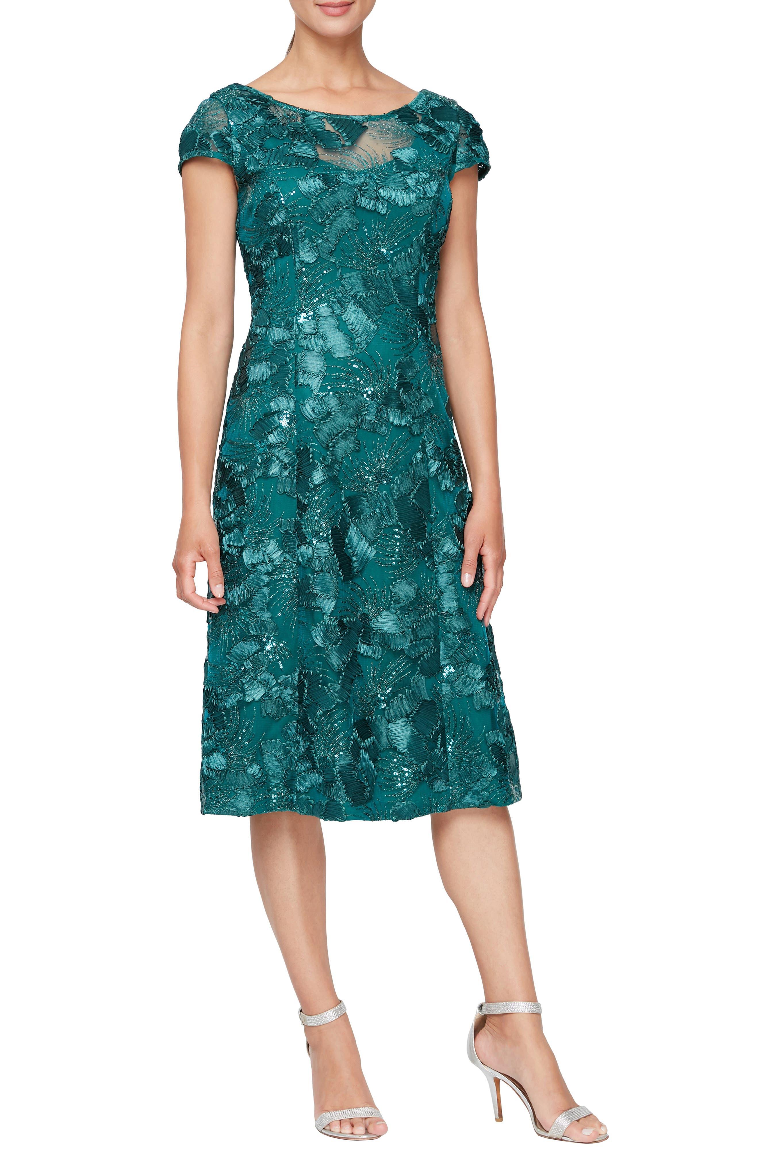 Sequin Floral Cocktail Dress