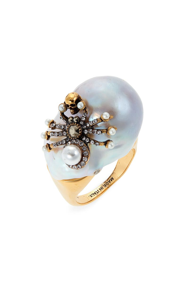 ALEXANDER MCQUEEN Spider Imitation Pearl Ring, Main, color, GOLD/ PEARL
