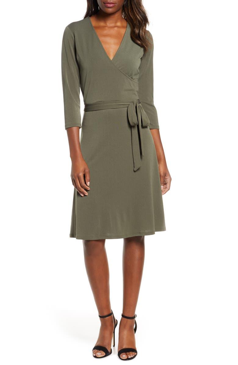 LEOTA Print Jersey Faux Wrap Dress, Main, color, CREPE KNIT PEAT MOSS