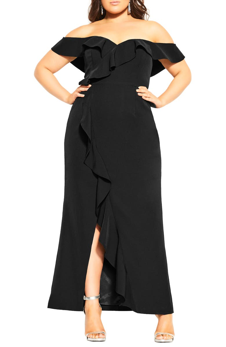 CITY CHIC Savannah Off the Shoulder Maxi Dress, Main, color, BLACK