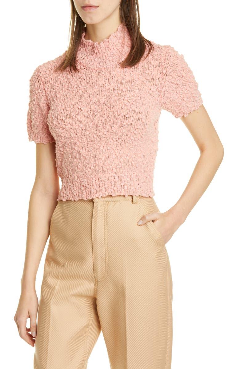 RACHEL COMEY Crop Short Sleeve Sweater, Main, color, PEACH