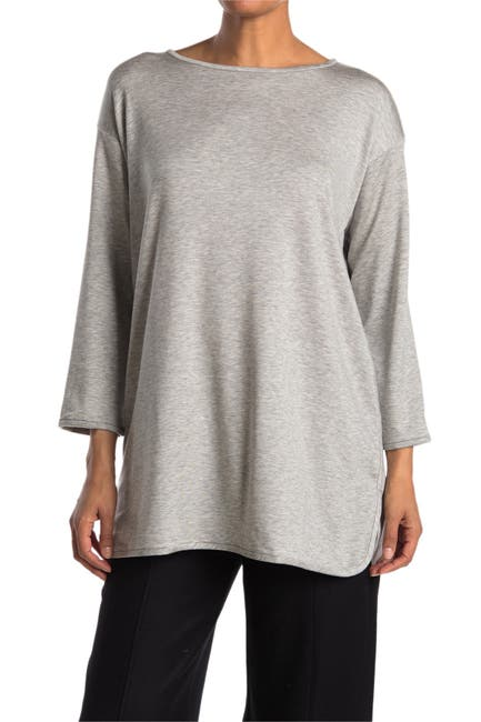 Image of Eileen Fisher Boatneck Tunic Knit Top