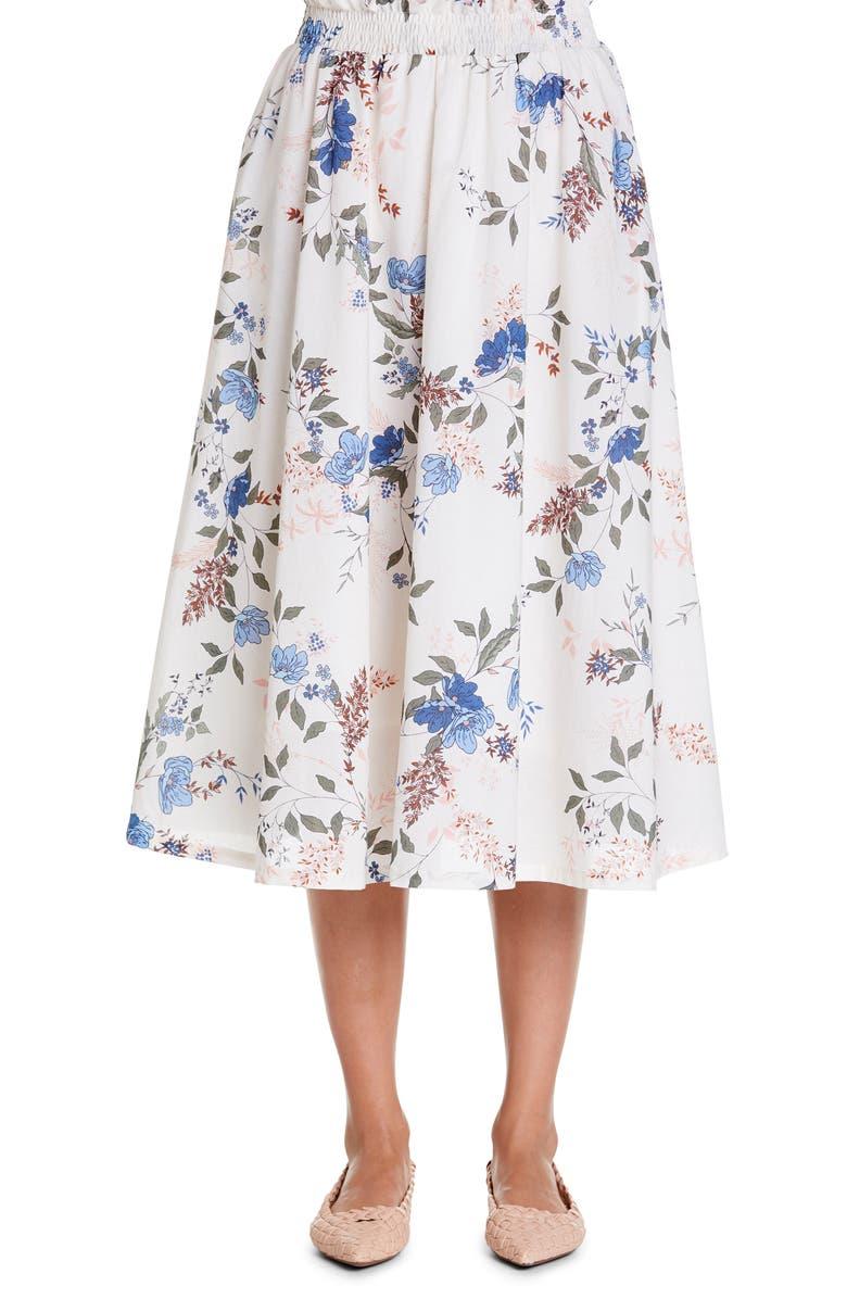 MICHAEL STARS Leah Floral Smock Waist Cotton Midi Skirt, Main, color, 100