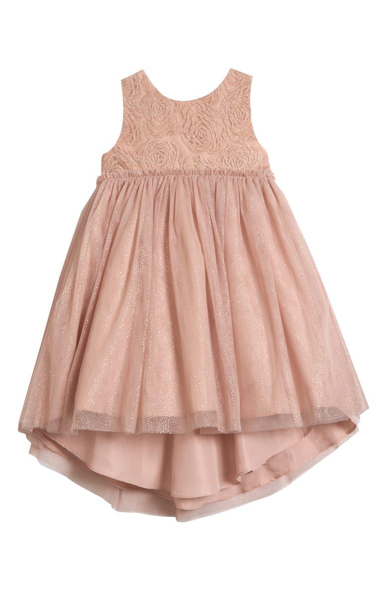 PIPPA & JULIE Shimmer Empire Waist Dress, Main, color, BLUSH