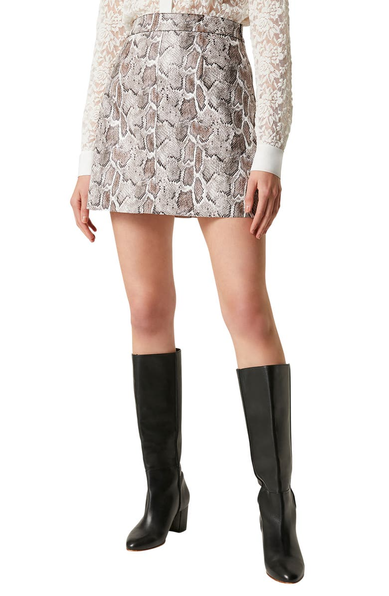 FRENCH CONNECTION Elias Snake Print Miniskirt, Main, color, 250