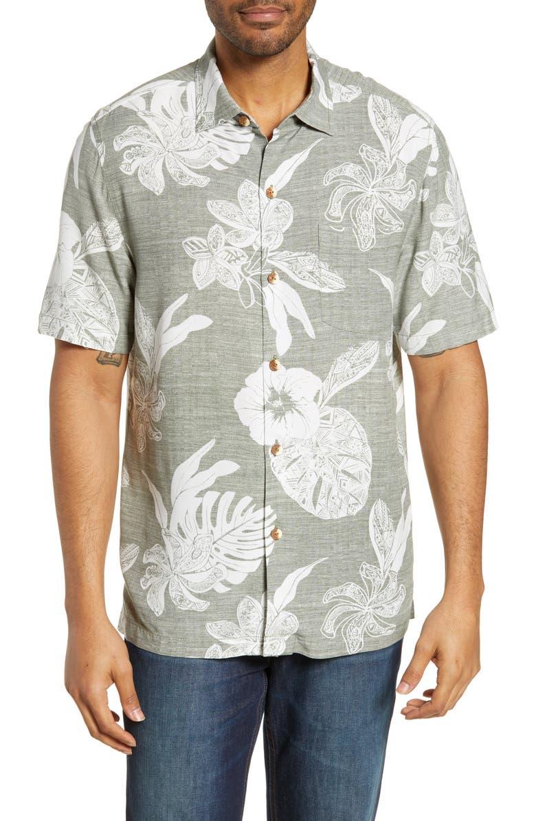 TOMMY BAHAMA Geo Leaf Classic Fit Camp Shirt, Main, color, TEA LEAF