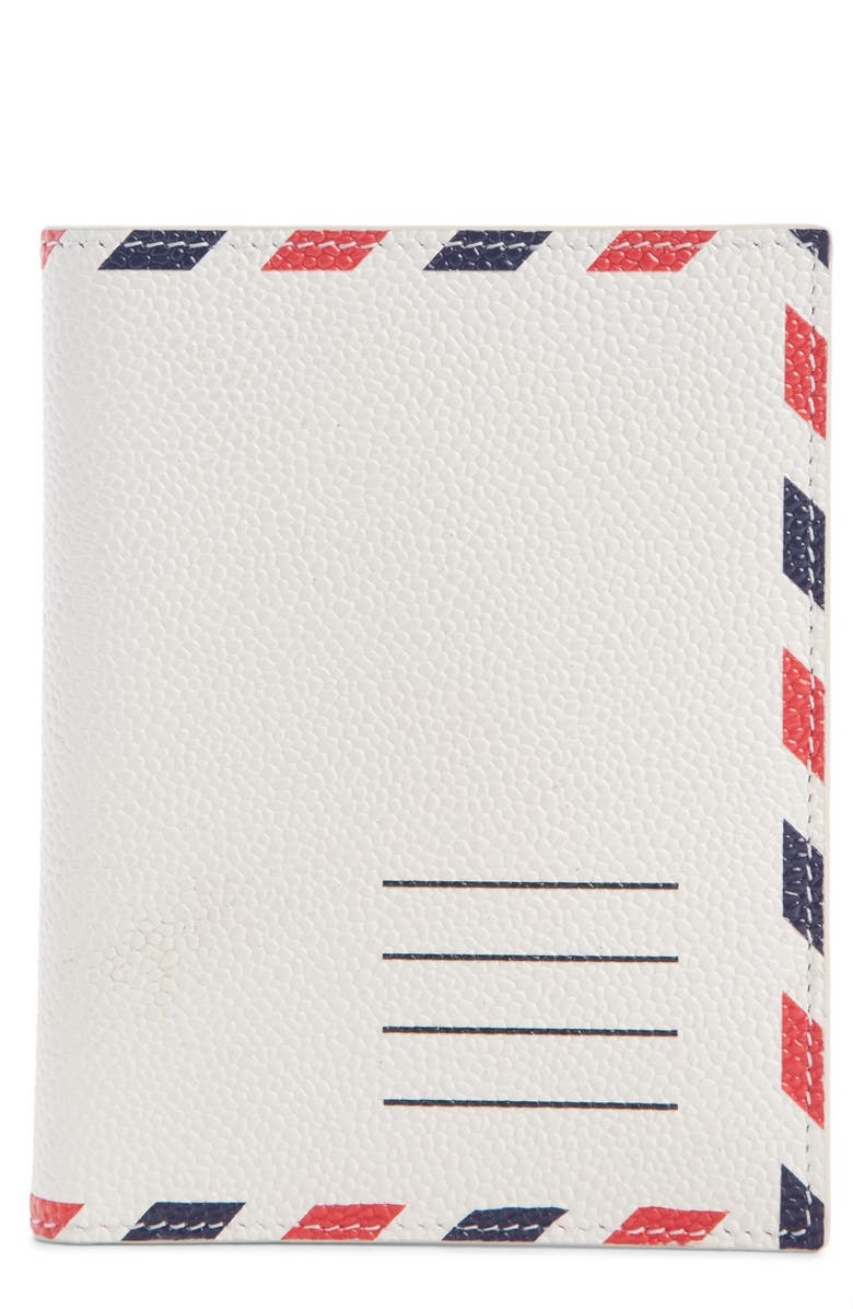 THOM BROWNE Airmail Stripe Leather Passport Case, Main, color, WHITE