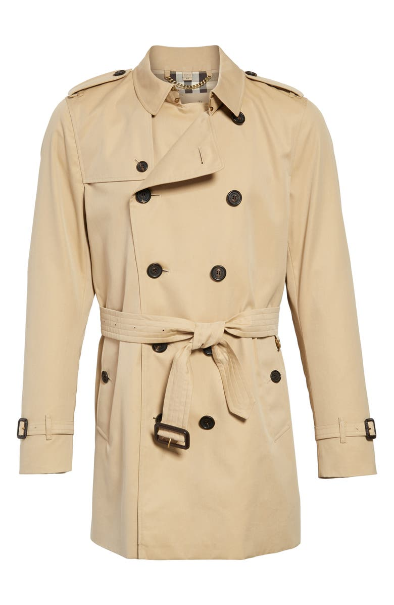 BURBERRY Kensington Double Breasted Trench Coat, Main, color, HONEY