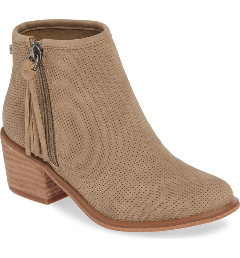 TREASURE & BOND Perforated Bootie, Main, color, TAUPE FAUX LEATHER