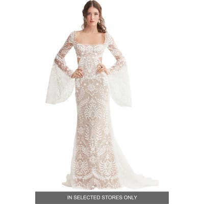 Willowby Arlo Embroidered Bell Sleeve Wedding Dress
