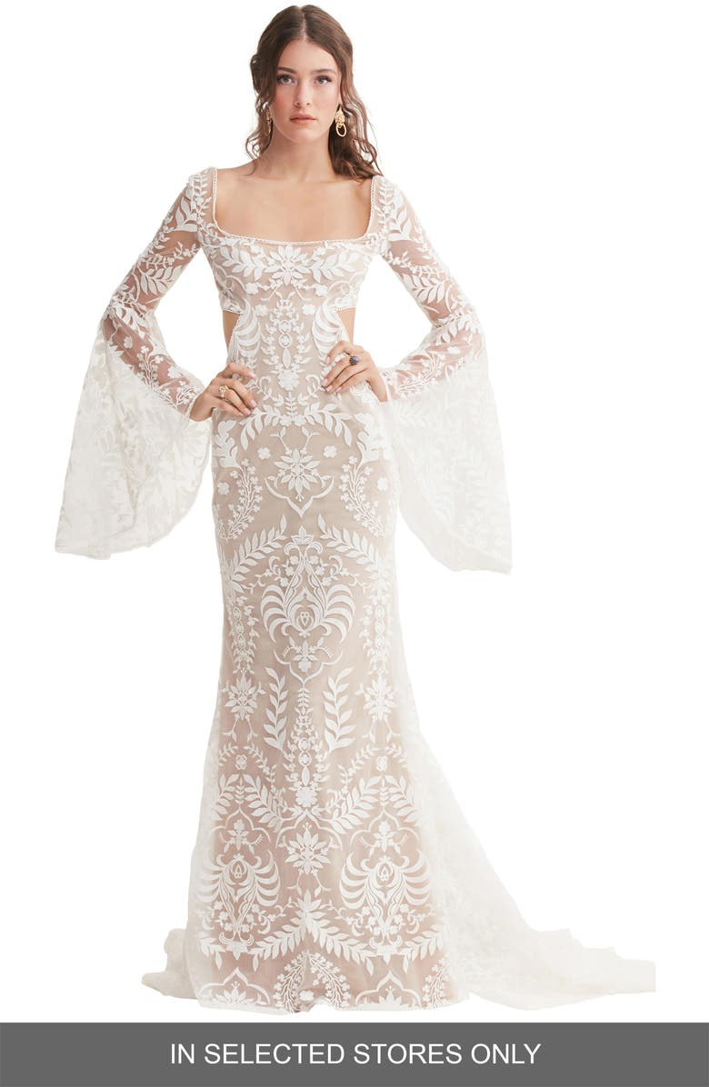 WILLOWBY Arlo Embroidered Bell Sleeve Wedding Dress, Main, color, IVORY/ NUDE