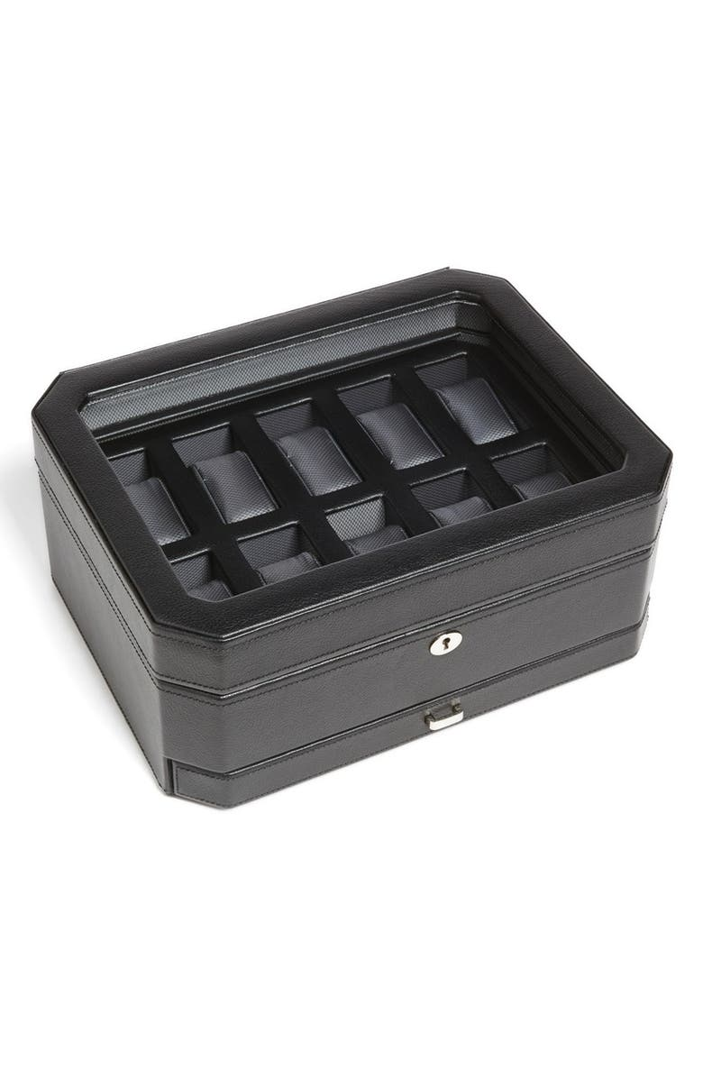 WOLF Windsor Watch & Accessory Case, Main, color, BLACK
