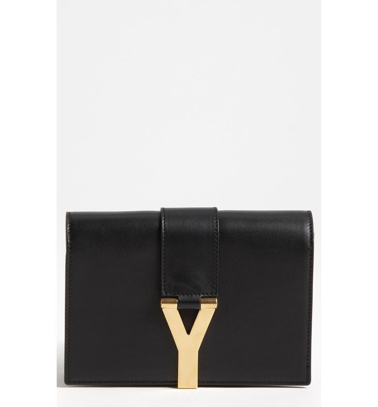 SAINT LAURENT 'Y Chain - Mini' Leather Handbag, Main, color, 001