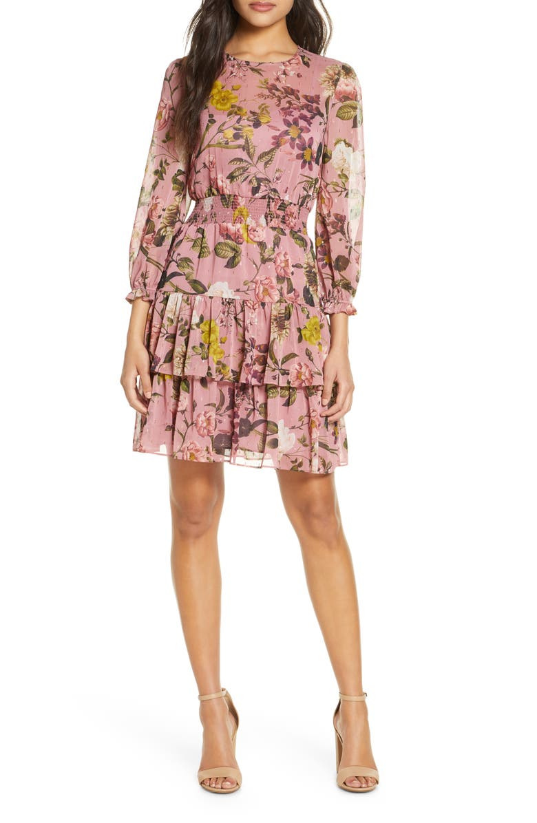 ELIZA J Floral Print Balloon Sleeve Ruffle Dress, Main, color, BLUSH