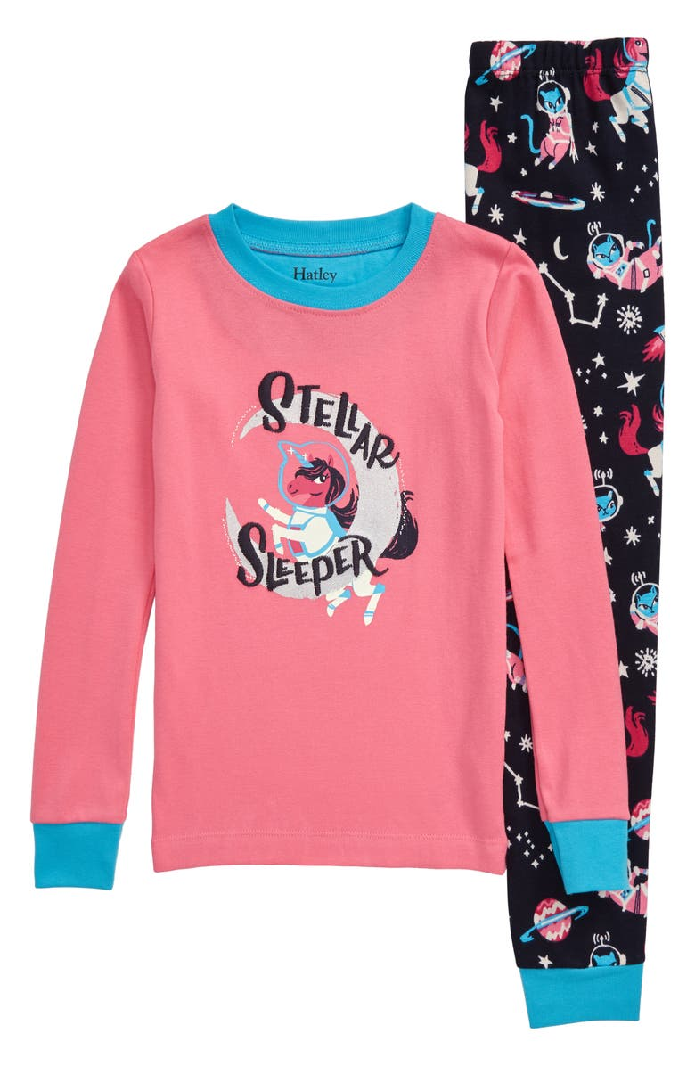 HATLEY Enchanted Space Fitted Organic Cotton Two-Piece Pajamas, Main, color, PINK