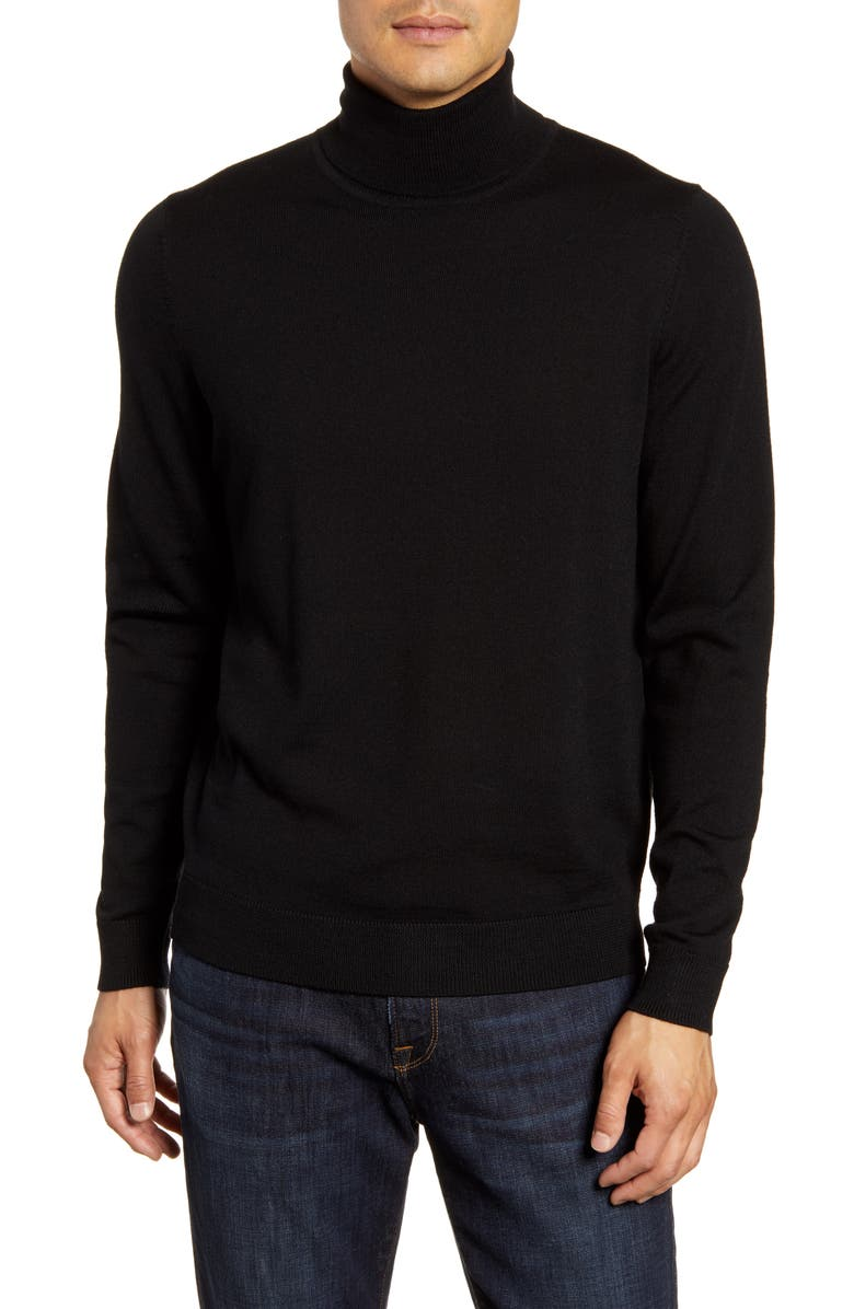 NORDSTROM MEN'S SHOP Merino Wool Turtleneck Sweater, Main, color, 001