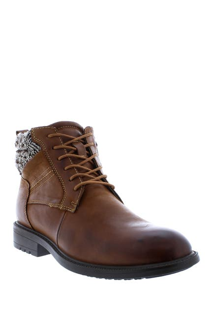 Image of English Laundry Reuben Houndstooth Collar Leather Lace-Up Boot