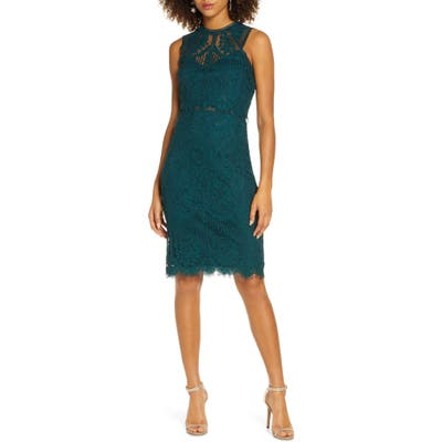 Lulus Sweetness Lace Cocktail Sheath Dress, Green