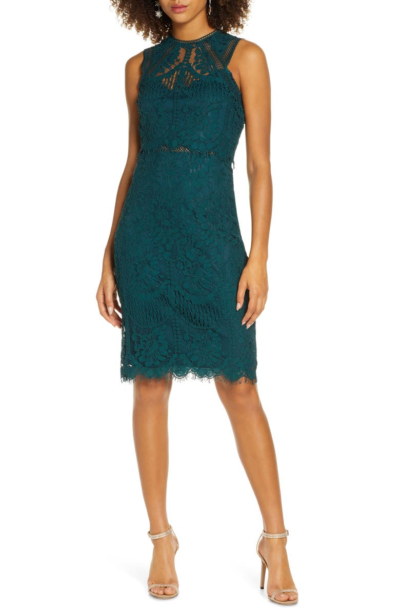 LULUS Sweetness Lace Cocktail Sheath Dress, Main, color, DARK GREEN