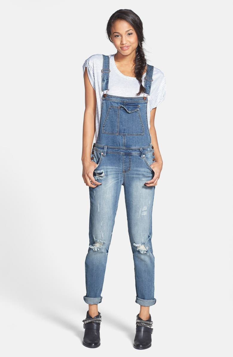 LOVE, FIRE Fire Destroyed Slim Overalls, Main, color, 420