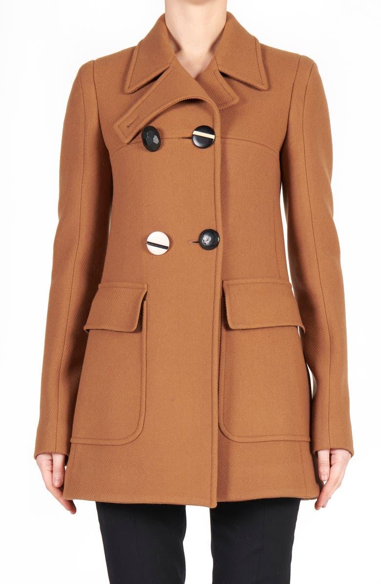 STELLA MCCARTNEY Myla Double Breasted Wool Coat, Main, color, NEW TAN