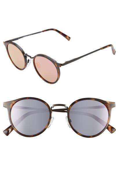 Le Specs Sunglasses TORNADO 48MM POLARIZED ROUND SUNGLASSES - MILKY TORT/ CORAL MIRROR