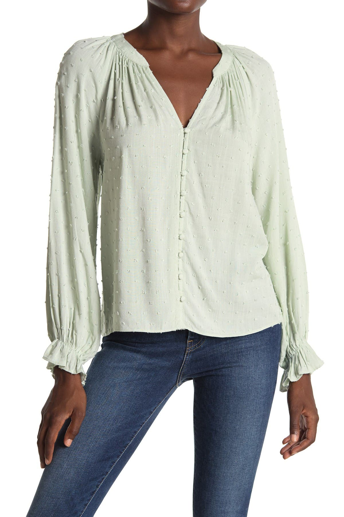 Image of ALL IN FAVOR Clip Dot Long Sleeve Button Front Top