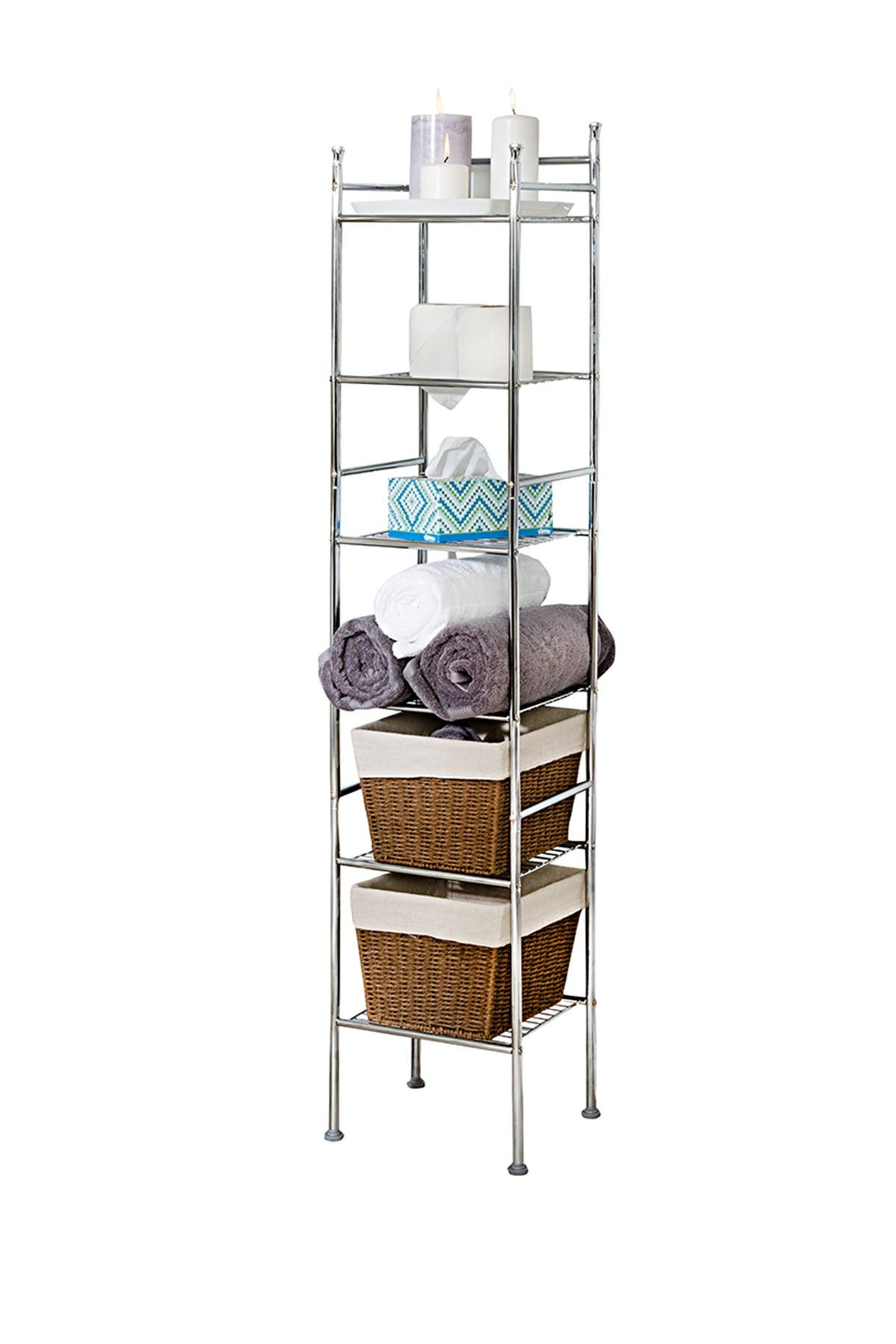 Image of Honey-Can-Do Chrome 6-Tier Metal Tower