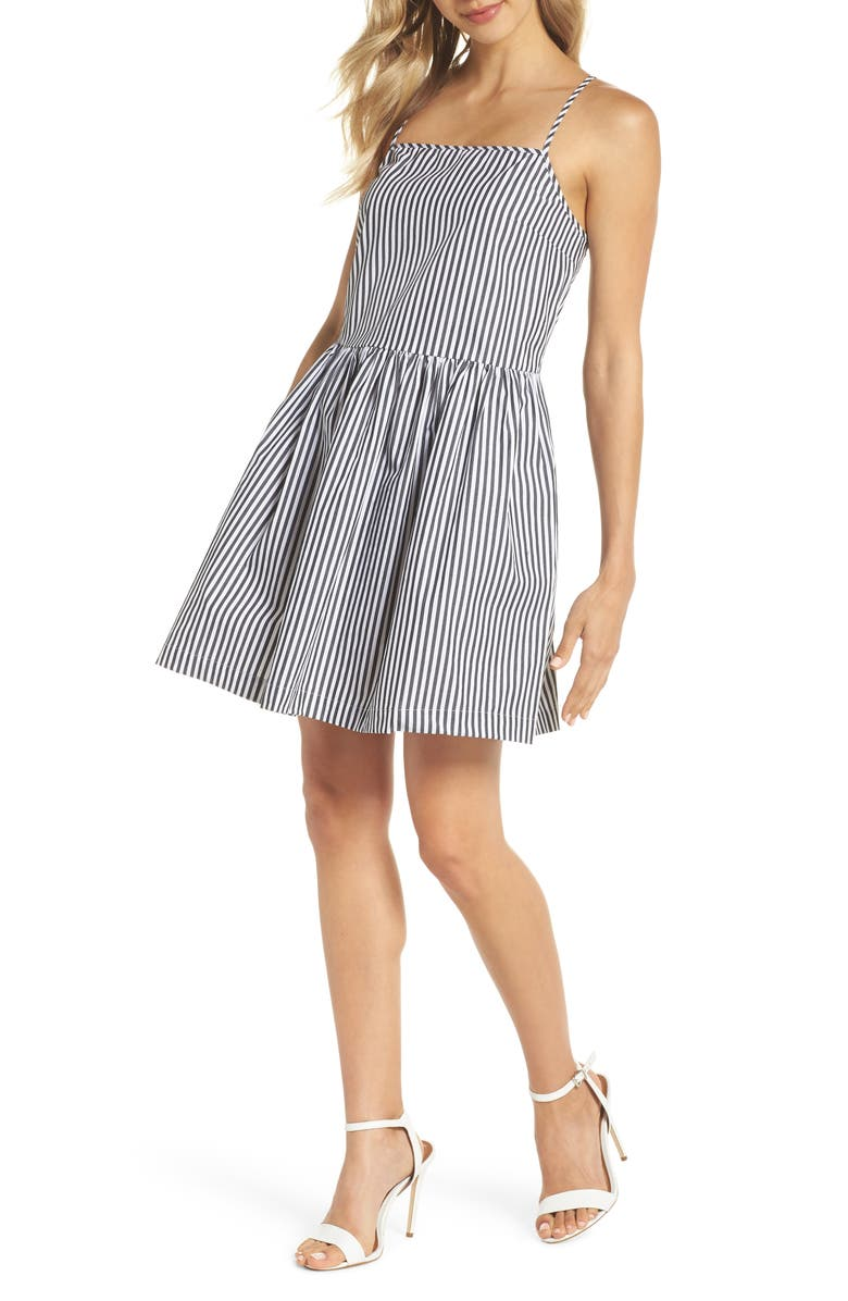 FRENCH CONNECTION Sardinia Stripe Cotton Sundress, Main, color, 002