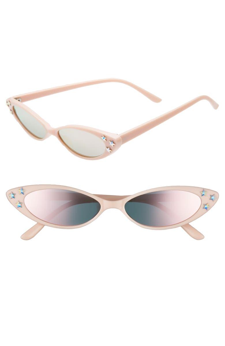 RAD + REFINED Mini Oval Sunglasses, Main, color, PINK/ CRYSTAL