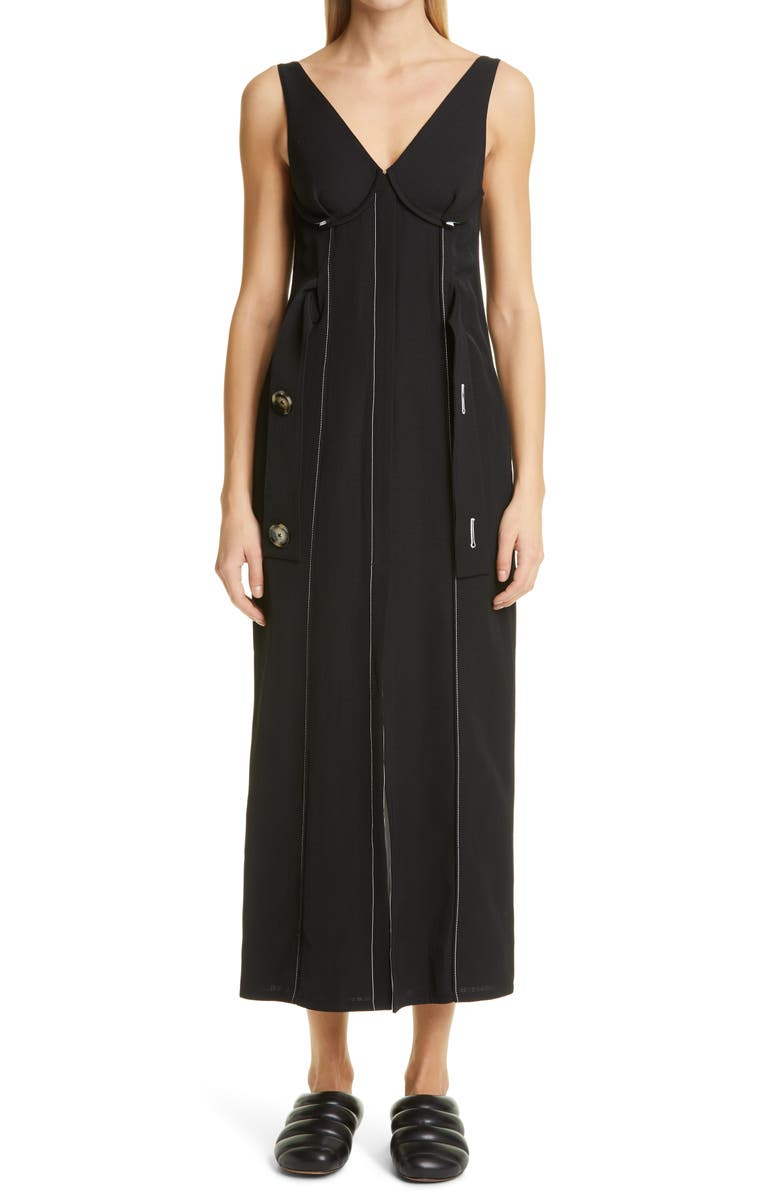 PROENZA SCHOULER V-Neck Sleeveless Sheath Dress, Main, color, 001
