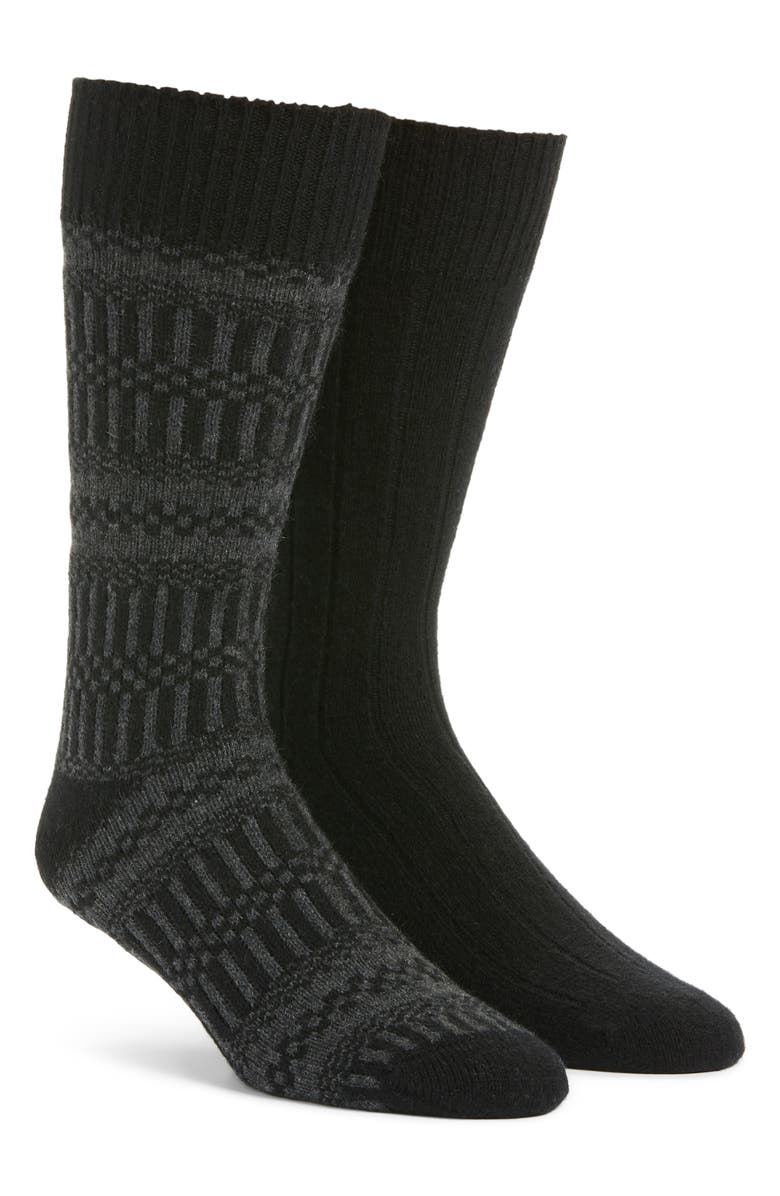 NORDSTROM SIGNATURE 2-Pack Cashmere Blend Socks, Main, color, BLACK/ BLACK JACQUARD